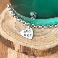 Silver Paw Print Bracelet